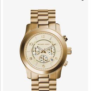 Michale Kors Oversized Runway Gold-Tone SS watch